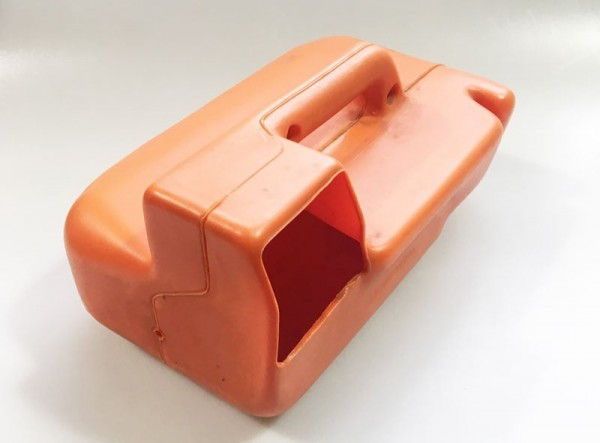 Merkur Kasse 80er, orange mit Griff (Historisches Originalteil)